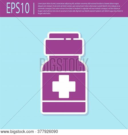 Retro Purple Medicine Bottle And Pills Icon Isolated On Turquoise Background. Medical Drug Package F