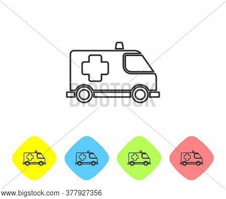 Grey Line Ambulance And Emergency Car Icon Isolated On White Background. Ambulance Vehicle Medical E