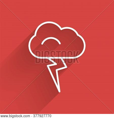 White Line Storm Icon Isolated With Long Shadow. Cloud And Lightning Sign. Weather Icon Of Storm. Ve