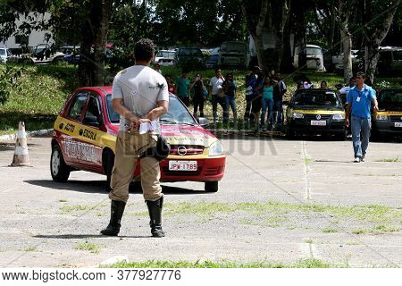 Itabuna, Bahia / Brazil - April 12, 2012: Driving School Student Seen During A Practical Test To Obt