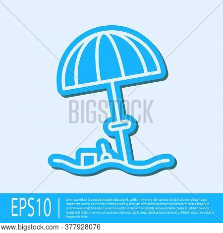 Blue Line Sun Protective Umbrella For Beach Icon Isolated On Grey Background. Large Parasol For Outd