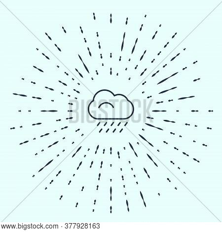 Black Line Cloud With Rain Icon Isolated On Grey Background. Rain Cloud Precipitation With Rain Drop