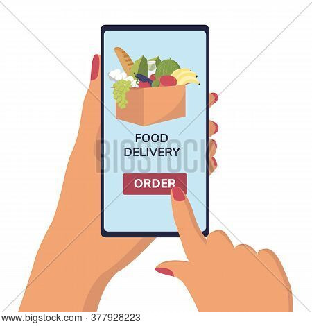Hand Holding Phone With Mobile App Order Food Online. Ordering Take Away Food. Ordering Food Using O