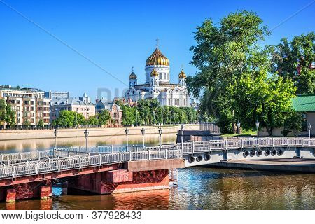 View Of The Cathedral Of Christ The Savior From The Yakimanskaya Embankment Of The Vodootvodny Canal