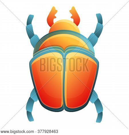 Pharaoh Scarab Beetle Icon. Cartoon Of Pharaoh Scarab Beetle Vector Icon For Web Design Isolated On