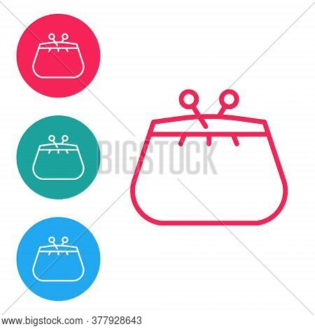 Red Line Wallet Icon Isolated On White Background. Purse Icon. Cash Savings Symbol. Set Icons In Cir