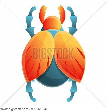 Amulet Scarab Beetle Icon. Cartoon Of Amulet Scarab Beetle Vector Icon For Web Design Isolated On Wh