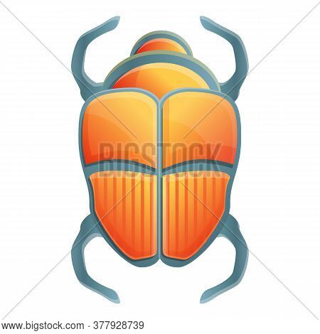 Ancient Scarab Beetle Icon. Cartoon Of Ancient Scarab Beetle Vector Icon For Web Design Isolated On