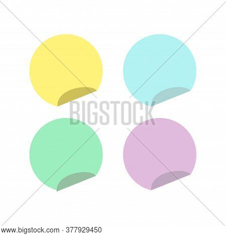 Circle Sticky Notes With Curved Edge Flat Style Isolated On White Background