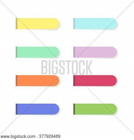 Strips Sticky Notes In Flat Style Isolated On White Background