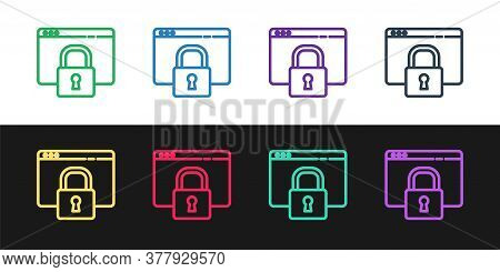 Set Line Secure Your Site With Https, Ssl Icon Isolated On Black And White Background. Internet Comm