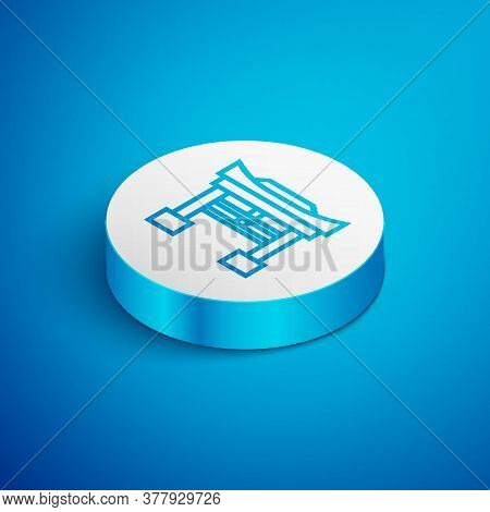 Isometric Line Japan Gate Icon Isolated On Blue Background. Torii Gate Sign. Japanese Traditional Cl