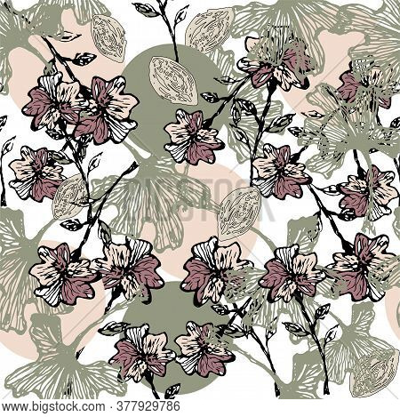 Beautiful Retro Print With Ginkgo Leaves. Provence Botanical Seamless Pattern. Vector Illustration.