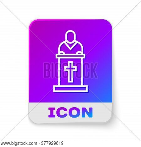 White Line Church Pastor Preaching Icon Isolated On White Background. Rectangle Color Button. Vector