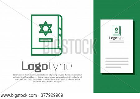 Green Line Jewish Torah Book Icon Isolated On White Background. On The Cover Of The Bible Is The Ima