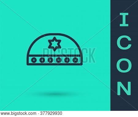 Black Line Jewish Kippah With Star Of David Icon Isolated On Green Background. Jewish Yarmulke Hat.