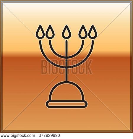 Black Line Hanukkah Menorah Icon Isolated On Gold Background. Hanukkah Traditional Symbol. Holiday R