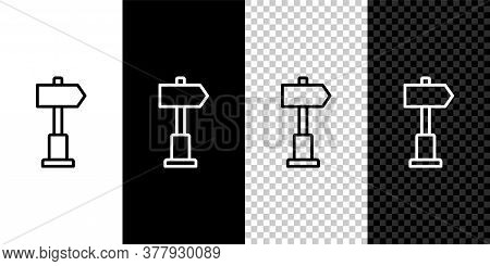 Set Line Road Traffic Sign. Signpost Icon Isolated On Black And White Background. Pointer Symbol. St
