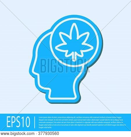 Blue Line Male Head In Profile With Marijuana Or Cannabis Leaf Icon Isolated On Grey Background. Mar