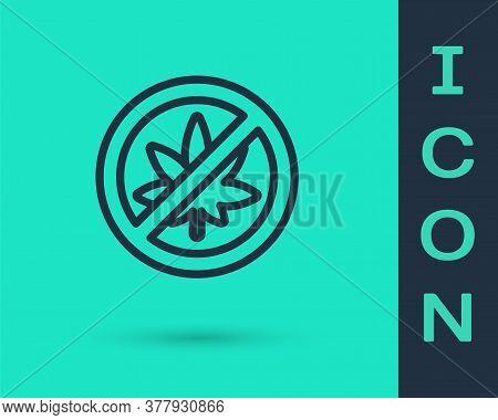 Black Line Stop Marijuana Or Cannabis Leaf Icon Isolated On Green Background. No Smoking Marijuana.