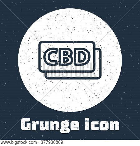 Grunge Line Cannabis Molecule Icon Isolated On Grey Background. Cannabidiol Molecular Structures, Th