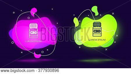 Line Medical Bottle With Marijuana Or Cannabis Leaf Icon Isolated On Black Background. Mock Up Of Ca
