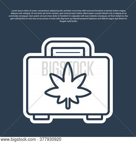 Blue Line Shopping Box Of Medical Marijuana Or Cannabis Leaf Icon Isolated On Blue Background. Buyin