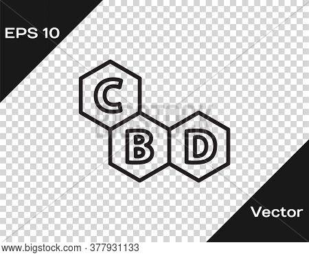 Black Line Cannabis Molecule Icon Isolated On Transparent Background. Cannabidiol Molecular Structur