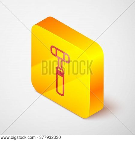 Isometric Line Neurology Reflex Hammer Icon Isolated On Grey Background. Yellow Square Button. Vecto