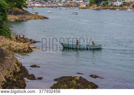 26 July 2018 - Dartmouth, Devon, Uk: Coast Guards Arriving In Dartmouth, Devon. Dartmouth Is A Town