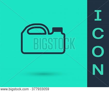 Black Line Plastic Canister For Motor Machine Oil Icon Isolated On Green Background. Oil Gallon. Oil