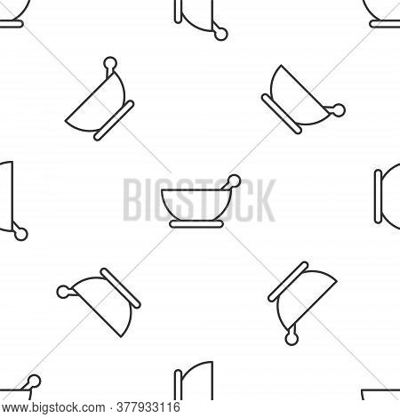 Grey Line Mortar And Pestle Icon Isolated Seamless Pattern On White Background. Vector Illustration