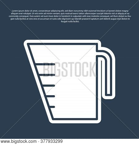 Blue Line Measuring Cup To Measure Dry And Liquid Food Icon Isolated On Blue Background. Plastic Gra