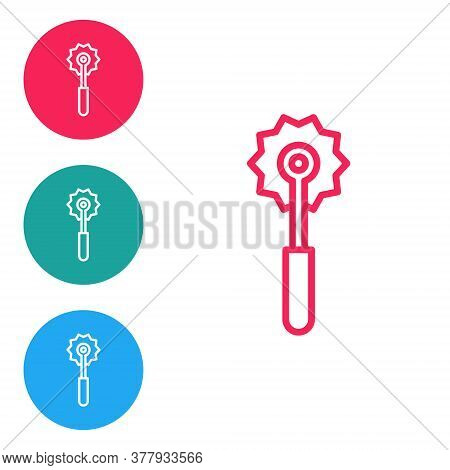 Red Line Pizza Knife Icon Isolated On White Background. Pizza Cutter Sign. Steel Kitchenware Equipme