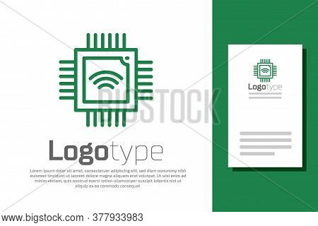 Green Line Computer Processor With Microcircuits Cpu Icon Isolated On White Background. Chip Or Cpu