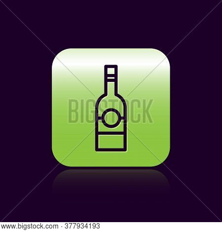 Black Line Glass Bottle Of Vodka Icon Isolated On Black Background. Green Square Button. Vector