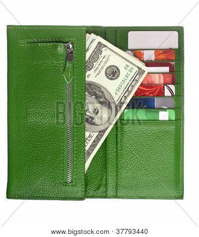 Open green leather wallet