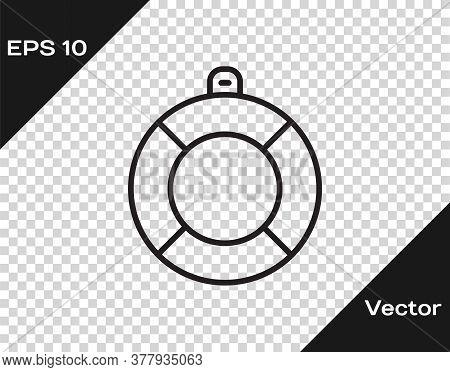 Black Line Lifebuoy Icon Isolated On Transparent Background. Lifebelt Symbol. Vector
