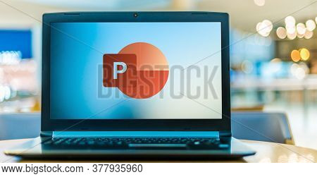 Poznan, Pol - Jun 16, 2020: Laptop Computer Displaying Logo Of Microsoft Powerpoint, A Presentation