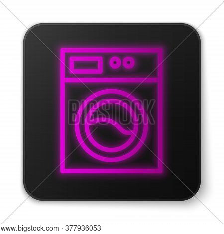 Glowing Neon Line Washer Icon Isolated On White Background. Washing Machine Icon. Clothes Washer - L