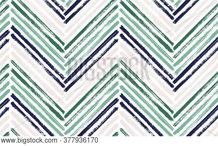 Classic Chevron Fashion Print Vector Seamless Pattern. Paintbrush Strokes Geometric Stripes. Hand Dr