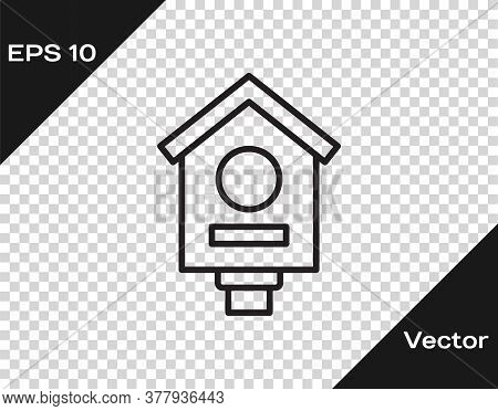 Black Line Bird House Icon Isolated On Transparent Background. Nesting Box Birdhouse, Homemade Build