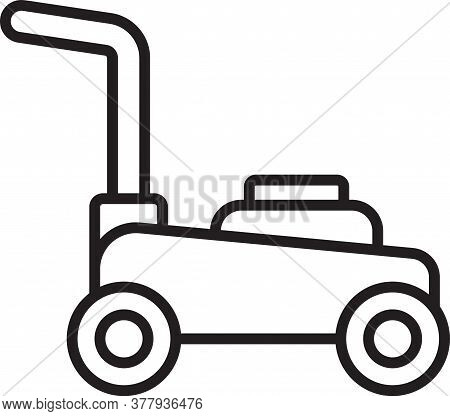 Black Line Lawn Mower Icon Isolated On White Background. Lawn Mower Cutting Grass. Vector