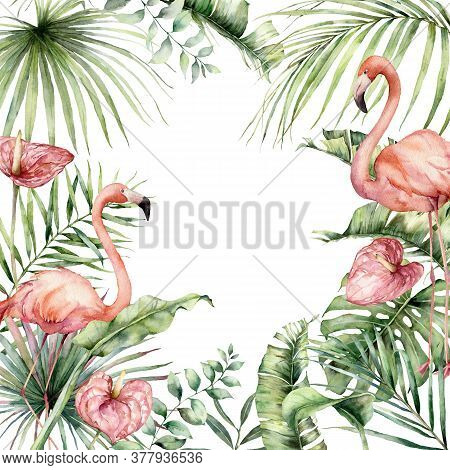 Watercolor Tropical Card With Pink Flamingo, Anthurium And Monstera. Hand Painted Birds, Flowers And