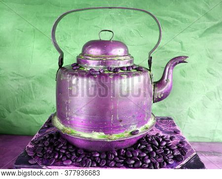 Old Vintage Antique Copper Kettle With Patina