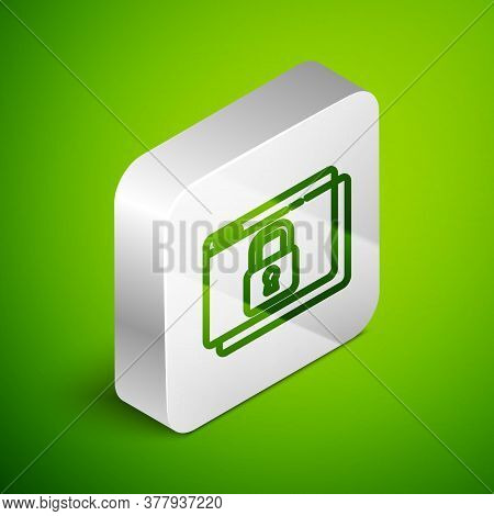 Isometric Line Secure Your Site With Https, Ssl Icon Isolated On Green Background. Internet Communic