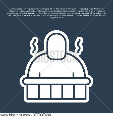 Blue Line Sauna And Spa Procedures Icon Isolated On Blue Background. Relaxation Body Care And Therap