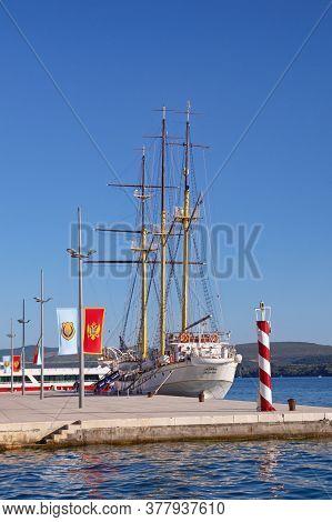 Tivat, Montenegro - June 08 2020 :  View Of Embankment Of Tivat City And Training Ship Jadran,  Mont