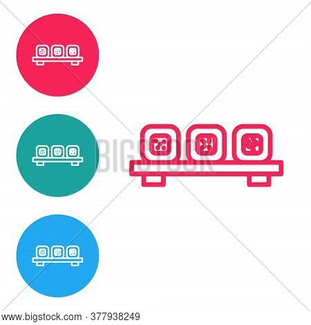 Red Line Sushi On Cutting Board Icon Isolated On White Background. Asian Food Sushi On Wooden Board.