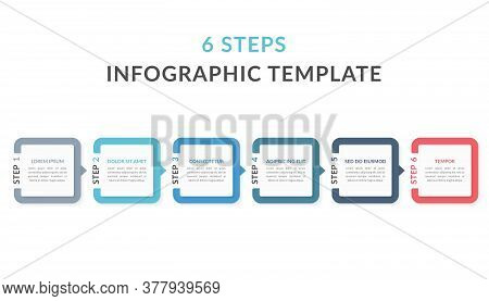 Infographic Template With Six Elements With Numbers And Place For Your Text, Workflow, Process Chart